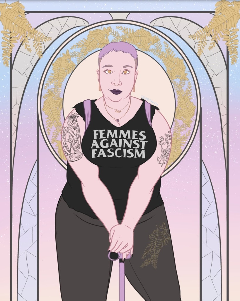 "An art-deco style portrait of Jesse, a fat white femme wearing a ""femme against fascism"" t-shirt and black jeans, wearing a lavender backpack and leaning on a lavender cane. She also has arm tattoos, several necklaces, purple lipstick, and lavender hair. Portrait by Michaela Oteri."